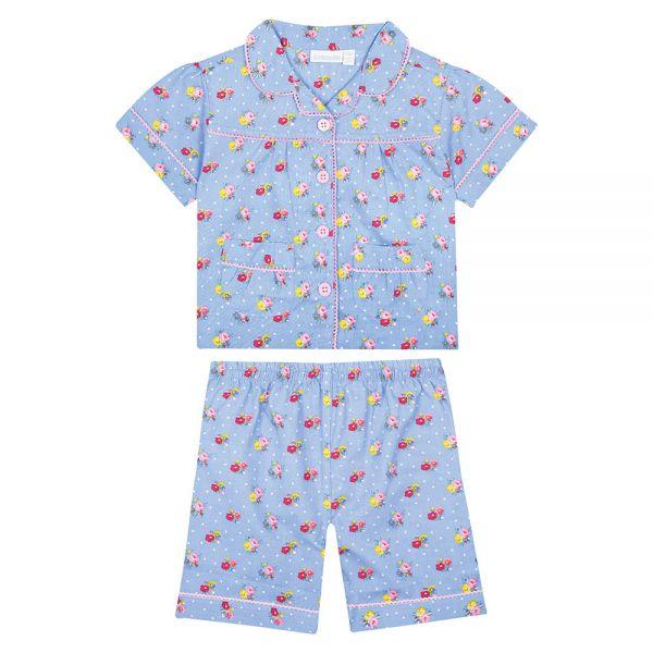Pijama para niñas de manga corta Azul