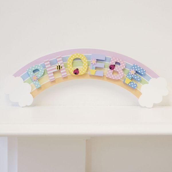 Placa Arco Arco Iris para Letras Infantiles de Madera