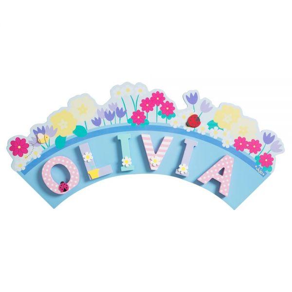 Placa Flores Letras Infantiles Niña