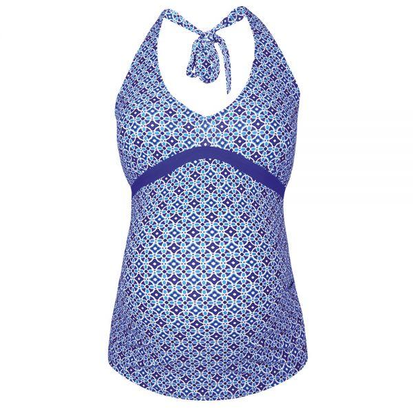 Tankini Premamá Mosaico Azul con cuello Halter