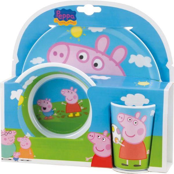 Vajilla Infantil de Melamina de Peppa Pig , 3 piezas