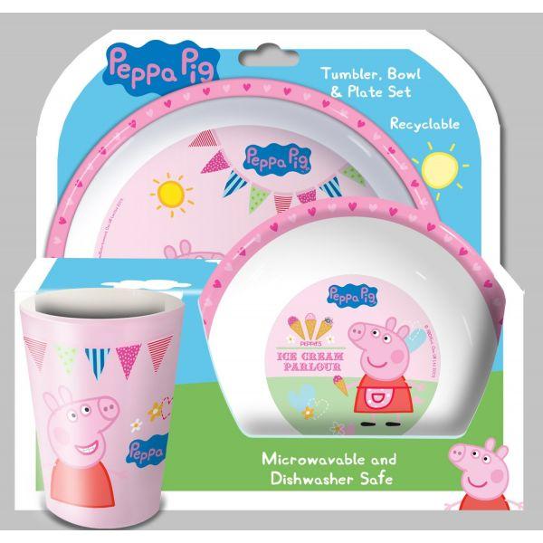 Vajilla Infantil de Polipropileno de  Peppa Pig , 3 piezas