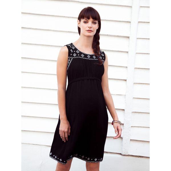 Vestido Premamá Negro Bordado