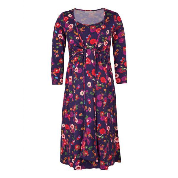 Vestido Premamá y Lactancia Floral Azul y Rojo