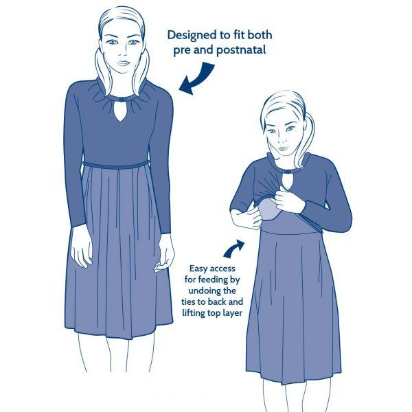 Vestido Premamá y Lactancia Navy Batik