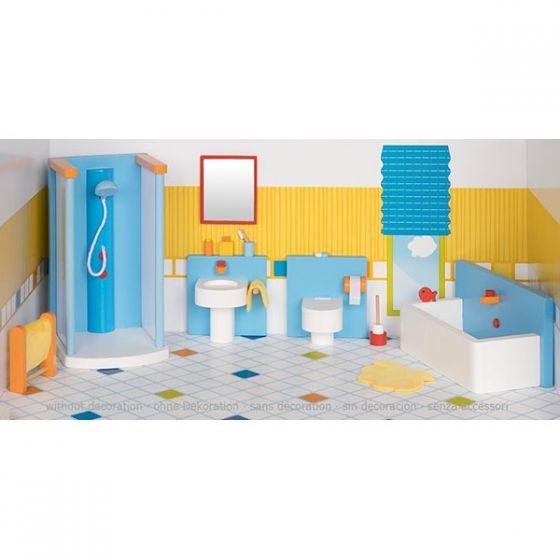 Set de 16 piezas de baño para casa de muñecas, de Goki