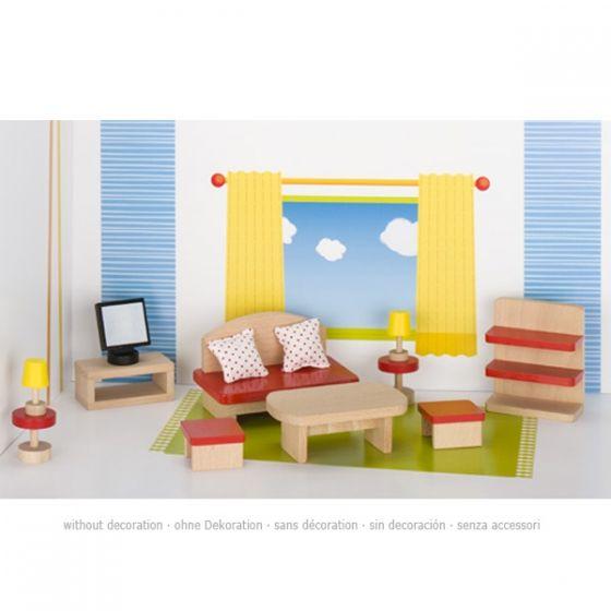 Set de 13 piezas de muebles de salón para casa de muñecas, de Goki