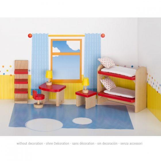 Set de mobiliario de cuarto infantil con literas de casa de muñecas, de Goki