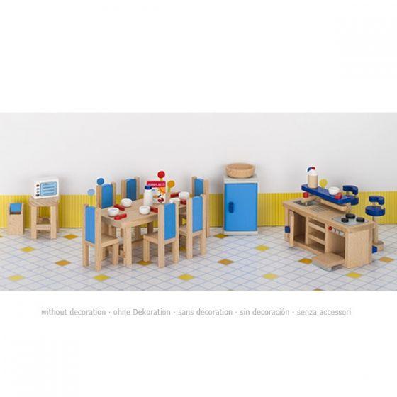 Set de 30 muebles de cocina comedor para casa de muñecas, de Goki