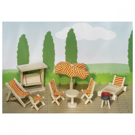 Set de 9 muebles de jardín para casa de muñecas, de Goki