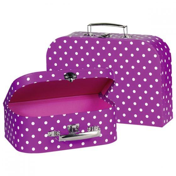 Set de 2 maletas lilas con lunares blancos, de Goki
