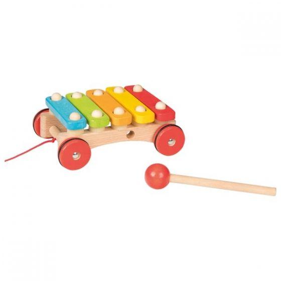 Xilófono con ruedas de madera, de Goki
