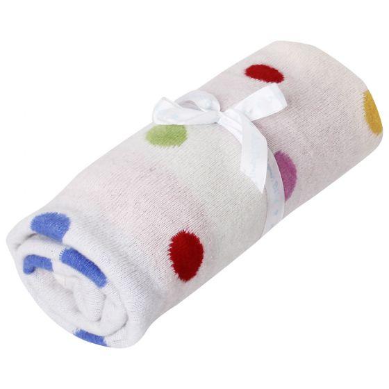 Mantita o Arrullo de Bebé y Recién Nacido Reversible. Topos Colores.