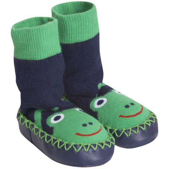 Zapatillas de casa Calcetín Bebé y Niño en color azul  con estampado de rana