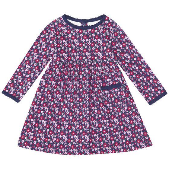 Vestido Clásico de Bebe y  Niña corte Clásico de color Navy Floral