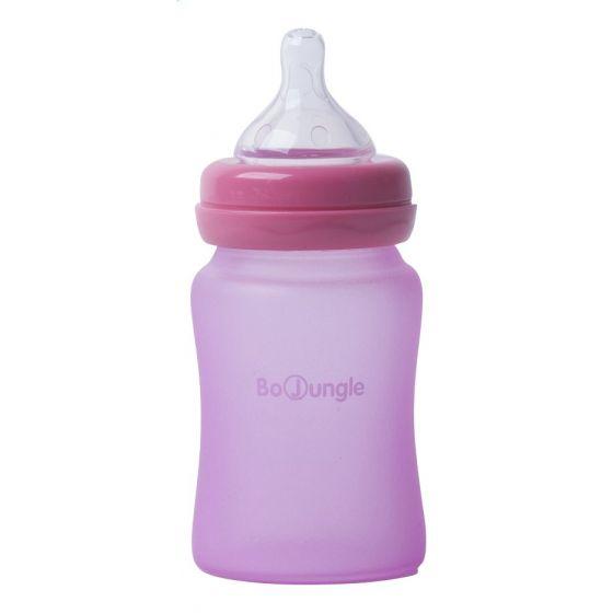 Biberón de Cristal 150 ml color rosa - Bo Jungle