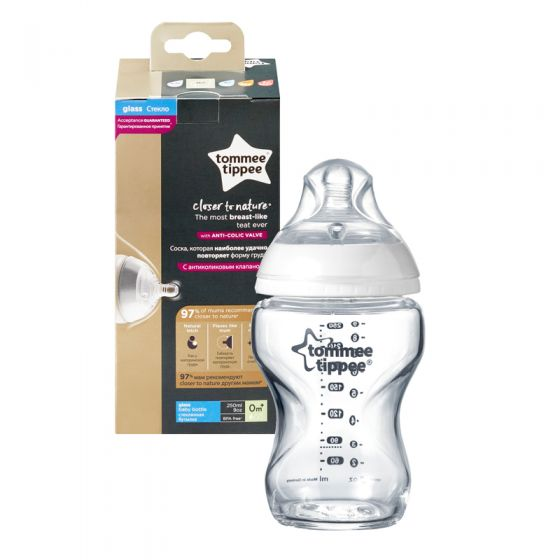 Biberón de cristal Tommee Tippee Closer to Nature 250 ml