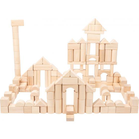 Bloques de madera natural, paquete grande - 200 piezas