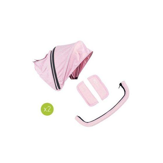 Pack 2 Capotas, 2 protectores arnés, 2 protectores Barra Gemelar Niu VentTwin color blush