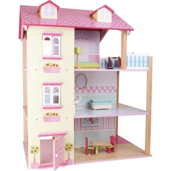 Casa de Muñecas Girable de 3 Pisos con Tejado Rosa