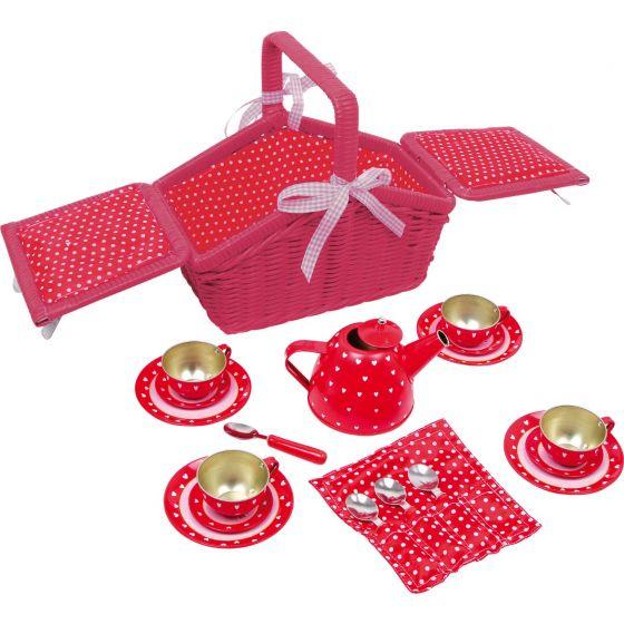 Cesta de picnic con puntos y corazones