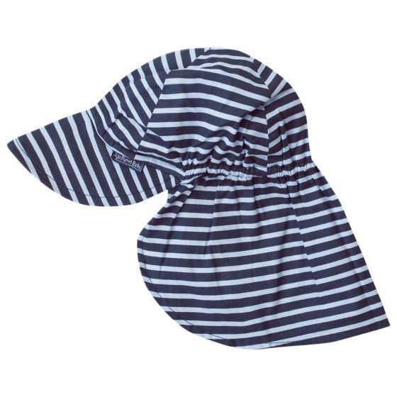 Gorra con Protección Solar para Bebés y Niños a Rayas Navy