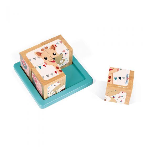 6 puzzles de 4 cubos de madera Sophie la Girafe Janod