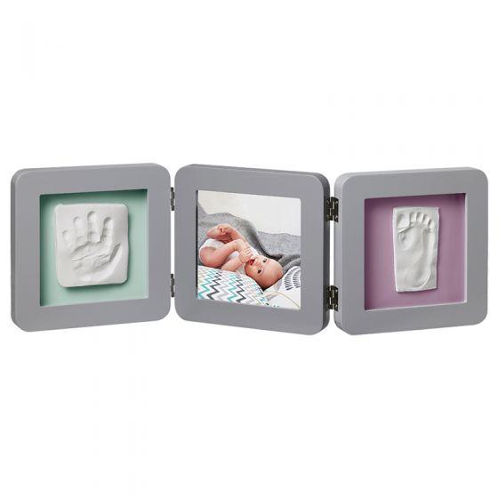 Baby Art. Marco triple para foto Huellas Bebé color gris