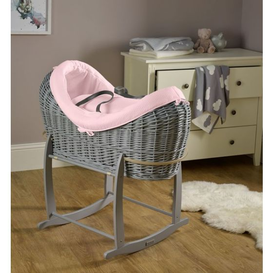 Moisés de mimbre Gris Noah Pod Cotton Dream Rosa - Clair de Lune