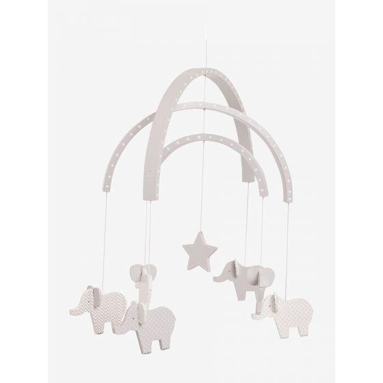 Móvil de cuna para Recién Nacido Elefantes Grises de madera