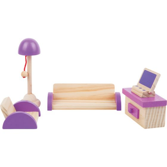 Muebles de madera para salón de casita de muñecas