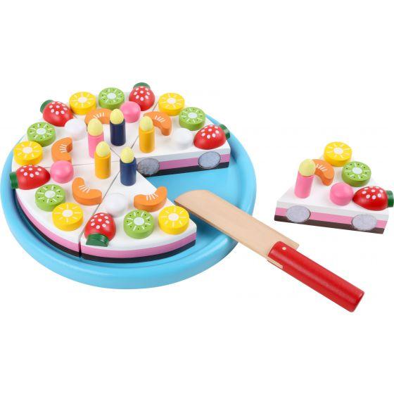 Pastel de cumpleaños para cortar, juguete de madera, 44 piezas