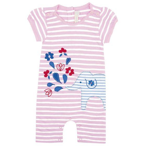 Pelele para Bebés a Rayas Rosas y Blancas