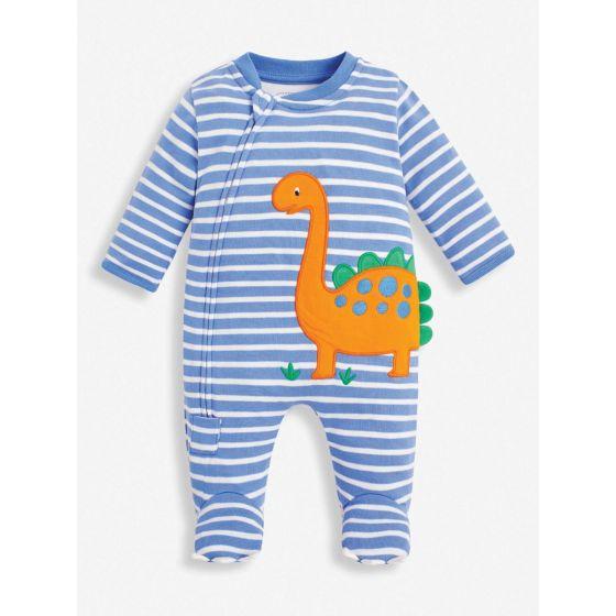 Pijama para Bebé con cierre cremallera a Rayas azules con Dinosaurio Naranja