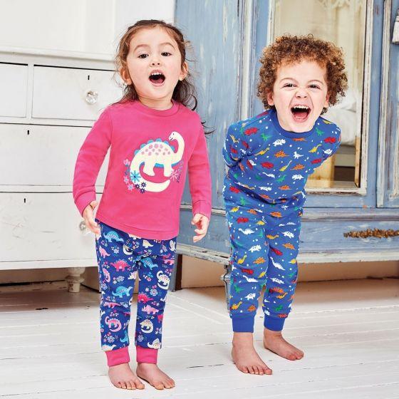Pijama Niña Dinosaurios Rosas Brillan en la Oscuridad