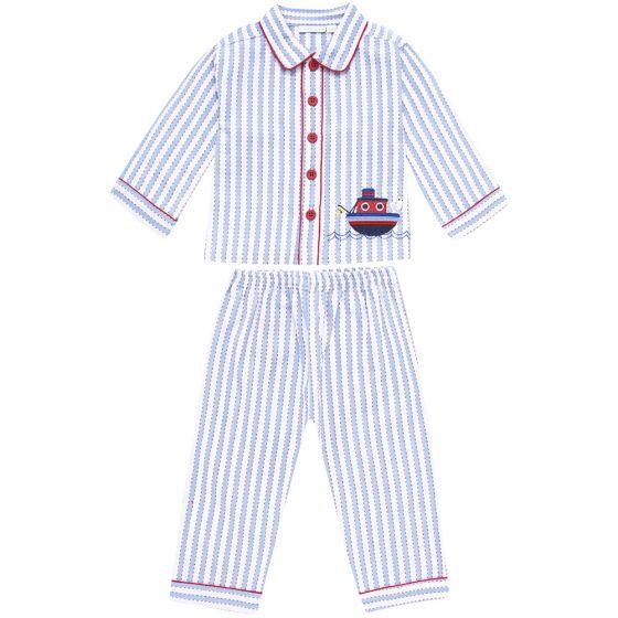 Pijama Largo para Niño a Rayas Blancas y Azules