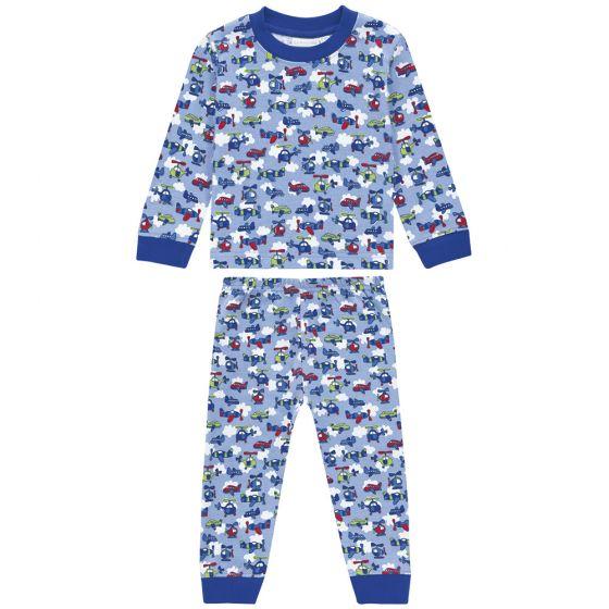 Pijama Largo de Niño azul con estampado de aviones