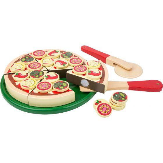 Pizza y cortador - Juguete de madera