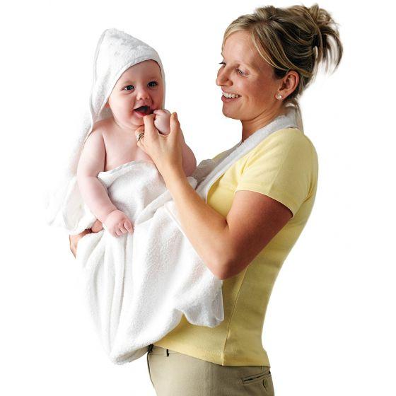 Toalla Delantal de Baño con Capucha para Bebés blanca - Clevamama