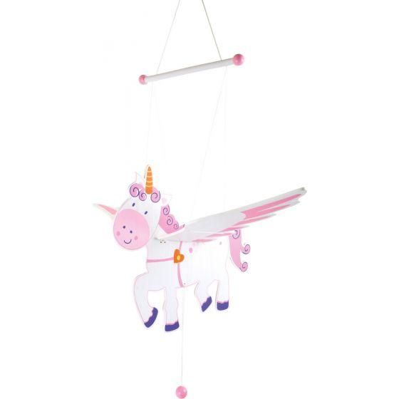 unicornio de madera colgante