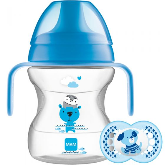 Vaso de Aprendizaje Mam Learn to Drink Cup Animal Friends azul 190 ml