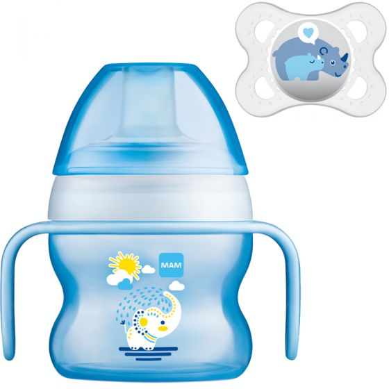 Vaso de aprendizaje Mam Starter Cup Animal 150 ml + Chupete Regalo color azul