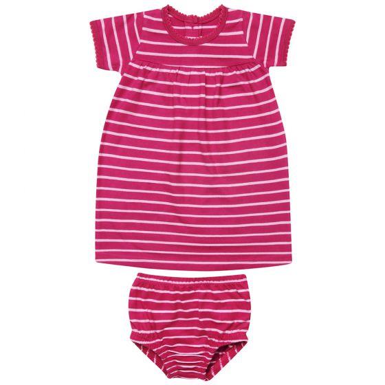 Vestido Bebé Estampado Rayas Ruibarbo con Braguita