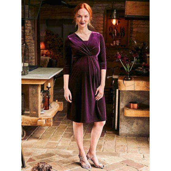 Vestido premamá y Lactancia de Fiesta - Terciopelo color Vino