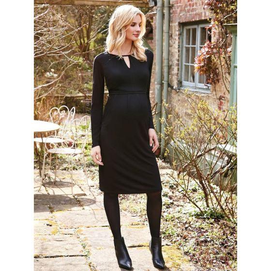 Vestido Premamá y Lactancia Cuello Cerradura en color negro