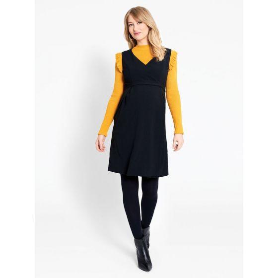 vestido premama negro manga corta
