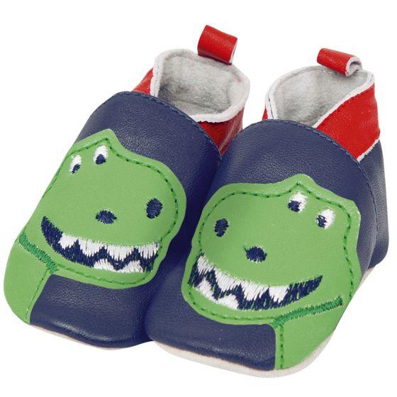 Zapatos de Piel para Bebé Azules Dinosaurio