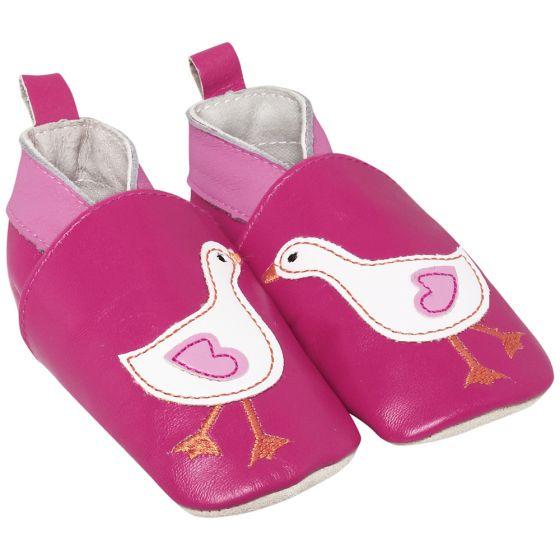 Zapatos de Piel para Bebé Pato en color fucsia