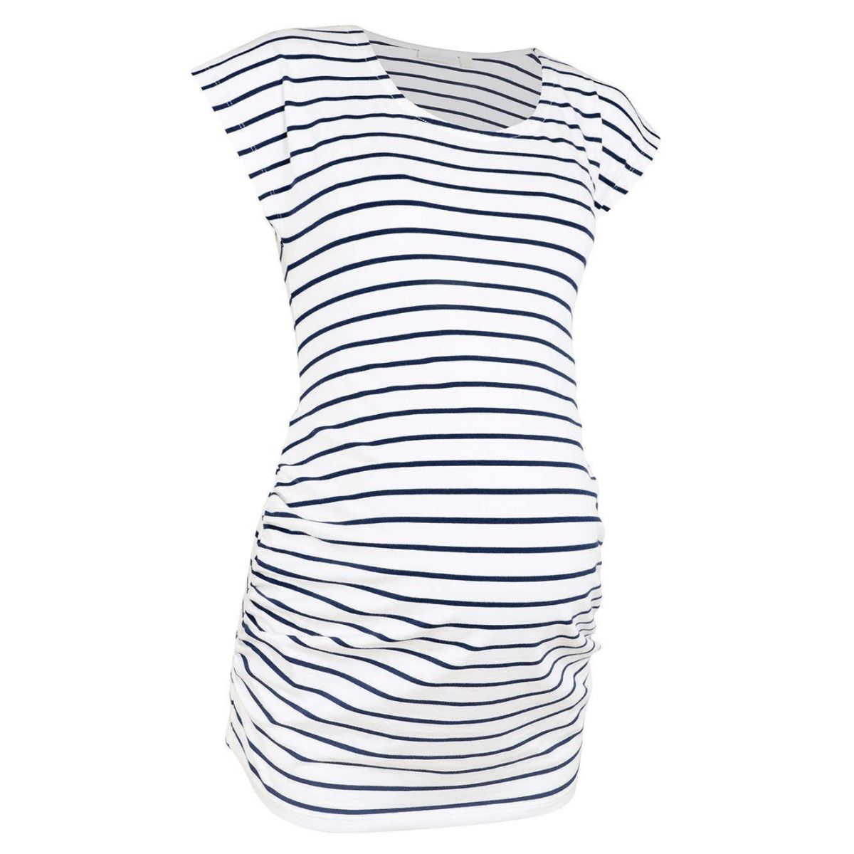53b95d8c1 Camiseta Premamá Fruncida con Rayas Breton - ShopMami