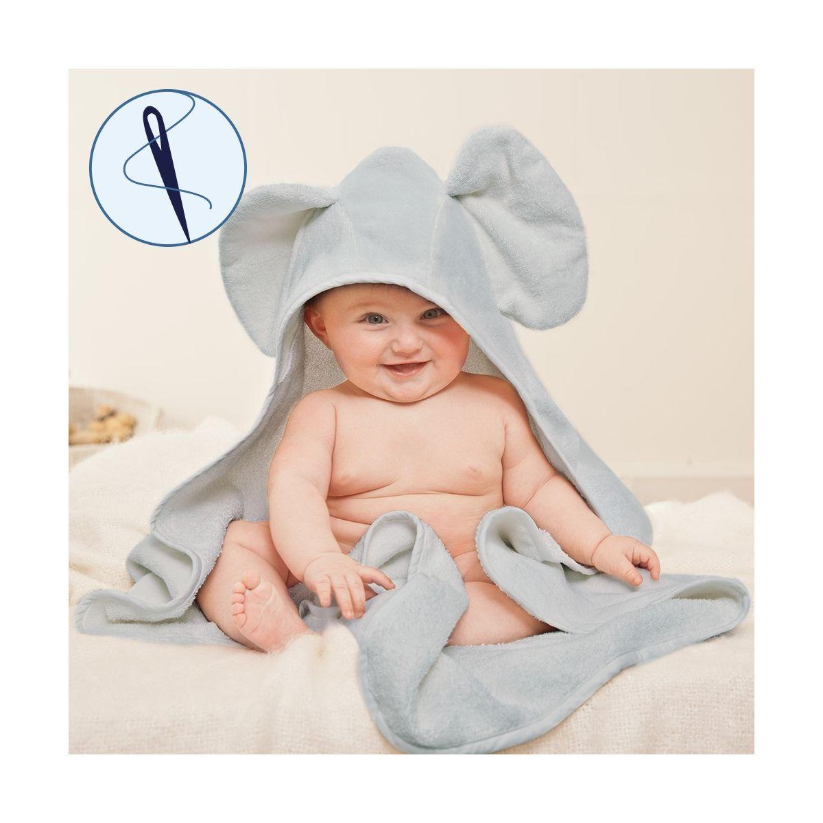 469058471 Toalla para Bebés Elefante Gris con Capucha